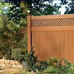 Brown Wood Textured Vinyl Fence with Privacy Topper