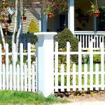 White Vinyl Fence with Alternating Posts